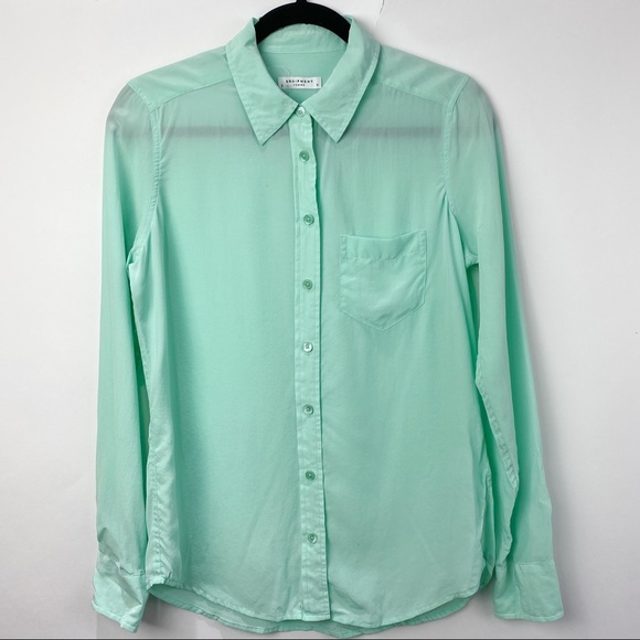 Equipment silk long sleeve teal mint blouse